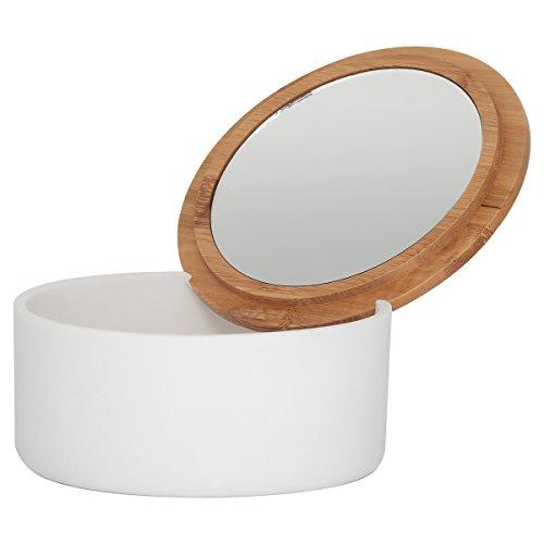 Sealskin Grace Kosmetikbox mit Spiegel, Schmuckdose aus Polyresin und Bambus, Farbe: Weiß