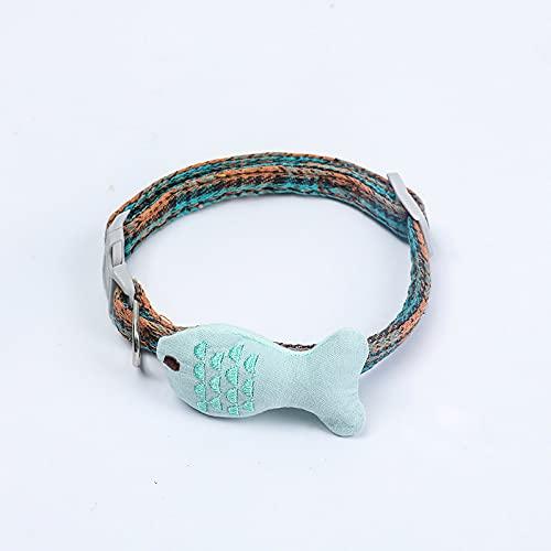 MRBJC Collar de perro personalizado ajustable multicolor dibujos animados impresión collares para mascotas perros gatos verde 1.5x40cm