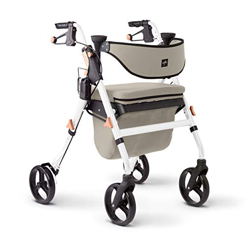 """Medline Premium Empower Rollator Walker with Seat, Comfort Handles and Thick Backrest, Folding Walker for Seniors, Microban Antimicrobial Protection, 8"""" Wheels, White Frame"""