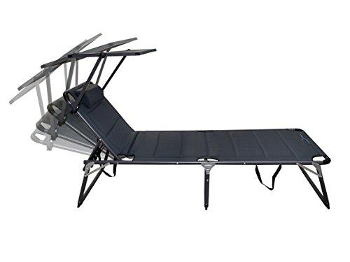 Meerweh Chaise Longue de Jardin en Aluminium avec Toit Chaise Longue en Aluminium Anthracite