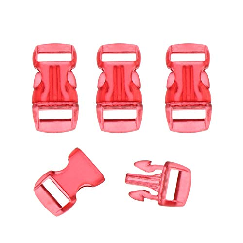 4 piezas de 10mm de lanzamiento lateral transparente collar pulsera de la hebilla curvada correa de red al aire libre del campo Bolsa de accesorios