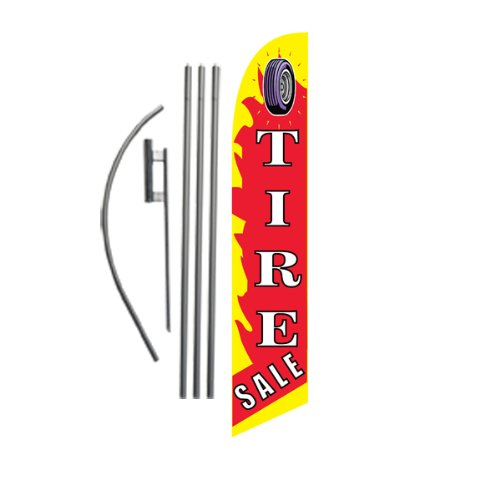 Tire Sale 15ft Feather Banner Swooper Flag Kit - INCLUDES 15FT POLE KIT w/GROUND SPIKE