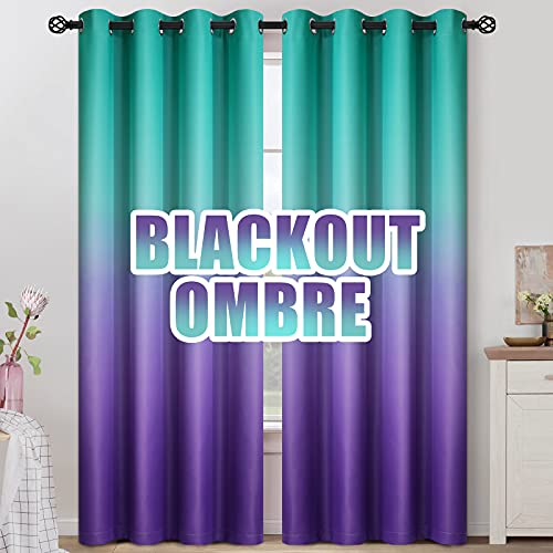 COSVIYA Grommet Ombre Room Darkening Curtains 84 inches Length for Kids/Girls Bedroom, Polyester Light Blocking Teal to Purple Gradient Window Drapes/Curtains for Living Room,2 Panels, 52x84inches