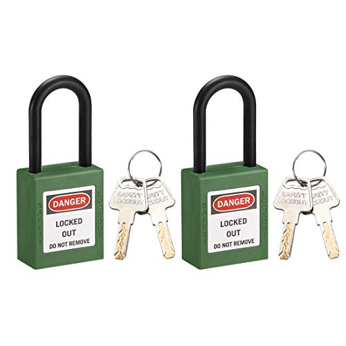 uxcell 2pcs 1 Inch Shackle Key Different Safety Padlock Steel Lock