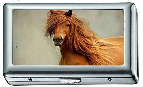 Animali Cavalli Sarah Jessica Parker Portasigarette/Scatola Porta biglietti da visita Custodia in acciaio inossidabile Protezione del portafoglio in metallo argentato
