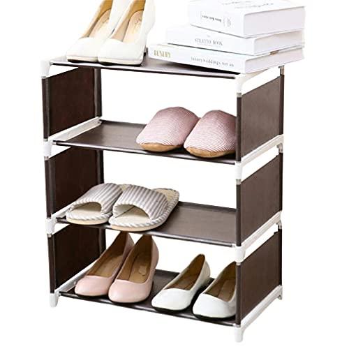 Hanone Ensamblaje de Tela para el hogar Creativo Estante para Zapatos Estante Simple para Almacenamiento de Zapatos a Prueba de Polvo Marrón 4 Capas