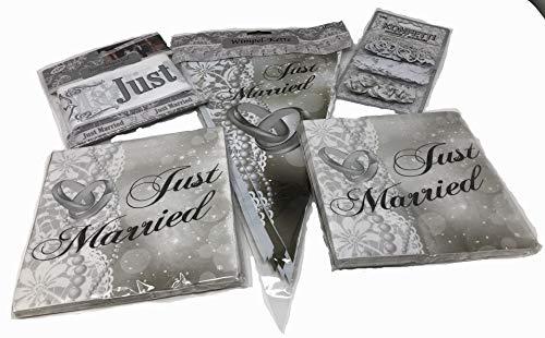 Bruiloftsset zilver, wimpel, confetti, afsluitband, 2 x servetten
