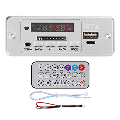 DC 5V Bluetooth 5,0 Placa Decodificadora de Audio Módulo de Audio USB FM Radio Placa de Decodificación MP3 Reproductor de Música con Amplificador de Potencia (Astilla)