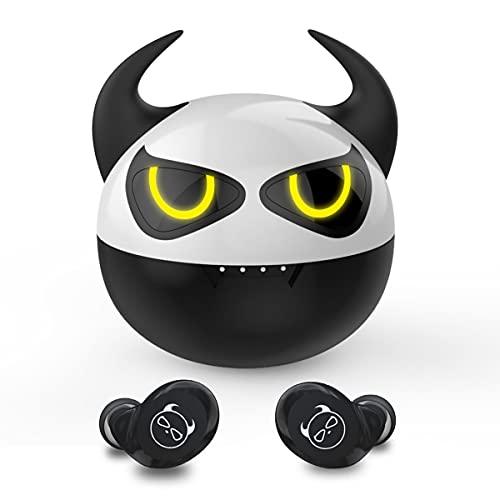 XZC Auriculares inalámbricos para niños lindos diablos para niños, adultos, reducción del ruido Bluetooth 5.0, impermeables, deportivos estéreo, con micrófono integrado para iPhone/Android (Bull)