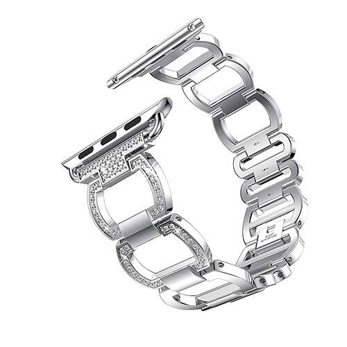 Pulsera de lujo de metal de diamante para Apple Watch de 44 mm, 42 mm, para Iwatch Se 6, 5, 4, 3, 2, 1, 38 mm, 40 mm, acero inoxidable