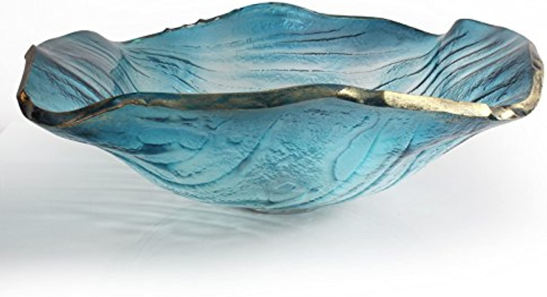 FANGYAO Gehrtetes Glas Waschbecken Waschbecken blaue Meer Glaskunst über Zhler Becken (440  145  12 mm) , single basin