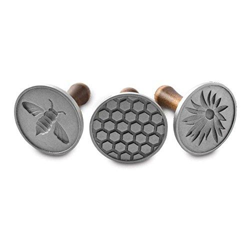 Nordic Ware Cast Cookie Stamps Honeybee, 3 count, Silver