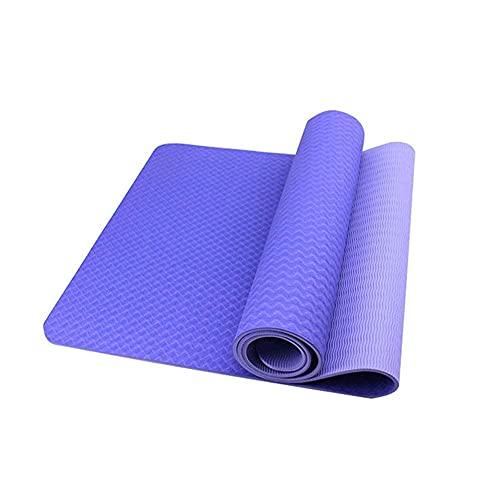 Sysrqcer Mat de Yoga ecológico TPE Alfombrillas de Ejercicios alfilatos Antideslizantes Pilates con Correa de Transporte para Ejercicios de Yoga Core Fitness and Play EjercíseosMen Wome