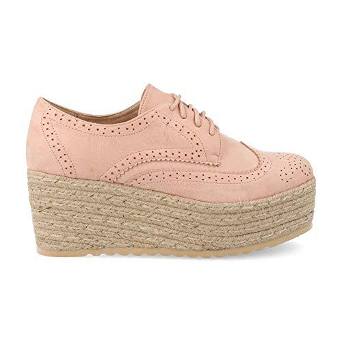 Zapatos Mujer Plataforma en Yute Tipo Oxford con Perforados Primavera Verano 2019. Talla 40 Rosa