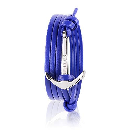 Skipper Leder-Armband mit Silbernem Edelstahl Anker für Damen und Herren - Lila 7357