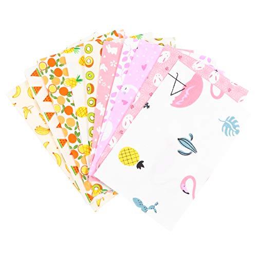 Valicclud 10 peças de tecido sortido, tecido de patchwork e estampa de frutas, tecido simples, feito à mão, material de artesanato para costura, artesanato, artesanato, artesanato, artesanato, artesanato, artesanato, capa, bolsa, artesanato