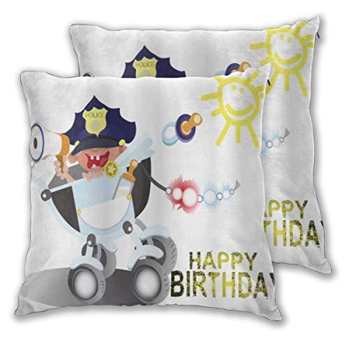 DECISAIYA Fodera per Cuscino,Auguri di Compleanno Festa di Polizia per Un Fumetto di Celebrazione del Bambino di Stile dei Bambini dell'ufficiale,Decorativi Federe Cuscini Sedia,Pacco da 2 65x65cm
