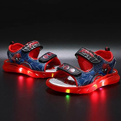 Hflyy Glow Sandalias Niños Sandalias Caminar Spiderman Niños Zapatos Playa Informales Zapatillas Deporte Suela Blanda Antideslizantes Zapatillas Punta Abierta Zapato Barco,Red-30/Inner Length 18.2cm
