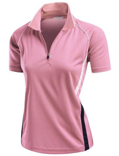 Xpril Coolmax 2 Tone Collar Short Sleeve Zipper Polo Tee Pink Size L