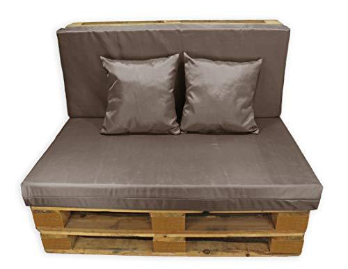 Conjunto 4 Piezas Impermeables Sofá de Palets, Asiento Palet 120x80 cm + Respaldo + Dos Cojines. Cómodo y Elegante para Interior y Exterior. (Marrón, Funda con Relleno)