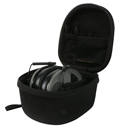 Khanka EVA Carrying Storage Travel Hard Case Cover Bag for 3M Peltor Tactical 6S Active Volume Hearing Protector Folding Earmuffs - Includes Mesh Pocket for Accessories - Black