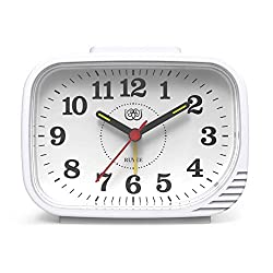 Small Analog Alarm Clock, Battery Operated, Non Ticking Silent, Night Light, Loud Dual Alarm and Ascending Alarm for Heavy Sleepers, for Bedroom Kitchen Desk Bedside Kids, 4.5 inch(White)