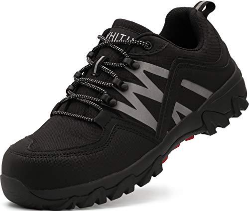 WHITIN Sicherheitsschuhe mit Stahlkappe Schuhe Leicht Indestructible Shoes Schutzschuhe rutschfeste Arbeitsschuhe Wanderschuhe Sicherheits Herren Schwarze Größe 45 EU