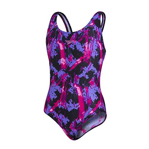 Speedo Allover Splashback Mädchen Badeanzug, Schwarz/Begonia/Galactic Purple, 7-8 Jahre