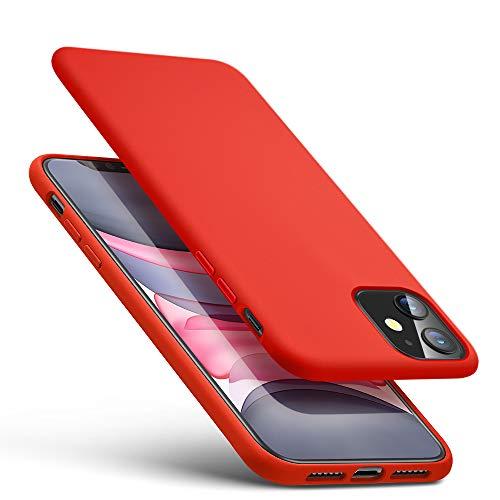 ESR Yippee Farbenfrohe Weiche Hülle kompatibel mit iPhone 11 - Samtig weiche Flüssigsilikon Gummi Handyhülle mit komfortablem Handgriff und [Bildschirm-und Kameraschutz] [stoßabsorbierend] für iPhone 11-Rot
