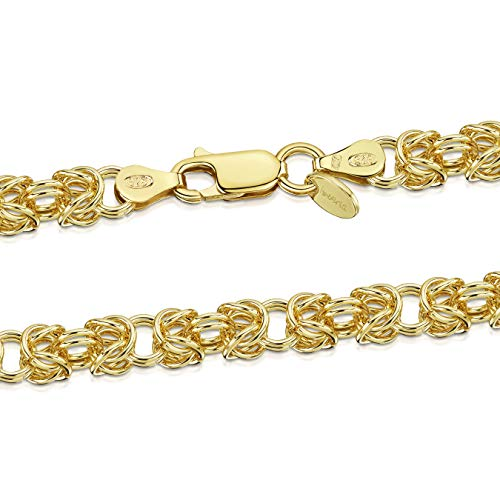 Amberta Women's 925 Sterling Silver Byzantine Chain Necklace: 65 cm / 26 inch - Gold Plated