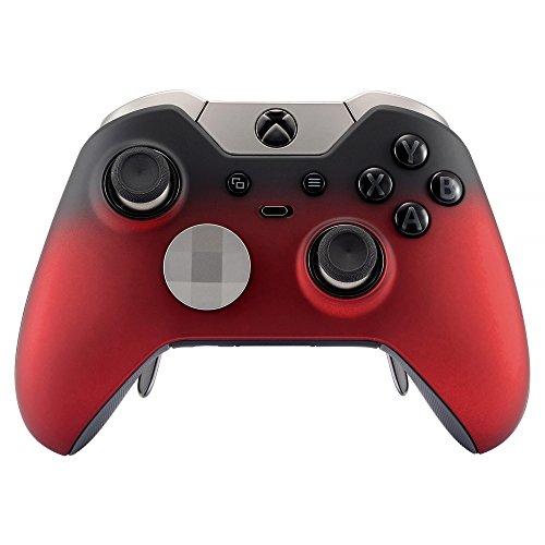 eXtremeRate Cover Custodia Anteriore Case Copertura Frontale Soft Grip Pezzo Ricambio per Xbox One Elite Controller Model 1698 con 2 Anelli d'Accento(Rosso Ombra)