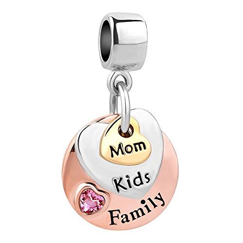 Korliya Family Mom Kids Charm Dangle Pink Heart Crystal Bead for Bracel