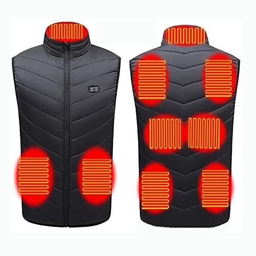 KUMADAI Chaleco Calefactable Eléctrico para Hombre Mujer Chaleco Calefactor con 3 Niveles de Temperatura Ajustable Chaqueta Calefactable Carga USB para Exteriores,Negro,L