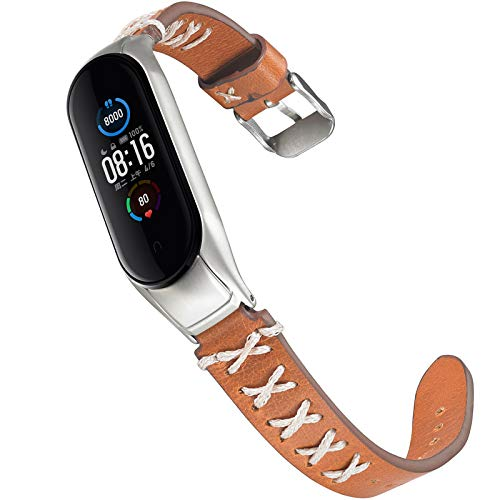 Miimall Pulsera de Reloj Compatible con Xiaomi Mi Band 5, Cuero Premium con Marco Metal Correa de Respuesto de Reloj para Xiaomi Mi Band 5 - Marron con Cinta