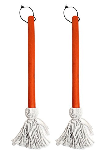 Chef Craft Set of 2 BBQ Basting Mops with Wood Handle and Cotton Head, Barbeque Sauce Basting Mops