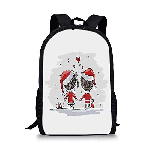 AOOEDM Backpack Elegante Bolso Escolar con Adornos navideos, Soul Mates Love with Santa Disfraz Familia Romance Noche de Invierno Imagen para nios, 11 'L x 5' W x 17 'H