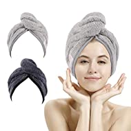 2 Pack Absorbent Microfibre Hair Towel Turban with Button Design to Dry Hair Quickly(Dark Gray& Ligh...