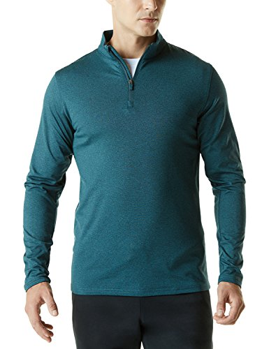 TSLA CLSL Men's Winterwear Sporty Slim Fit 1/4 Zip Fleece Lining Sweatshirt, Fleece Quarterzip(ykz01) - Heather Green, Medium