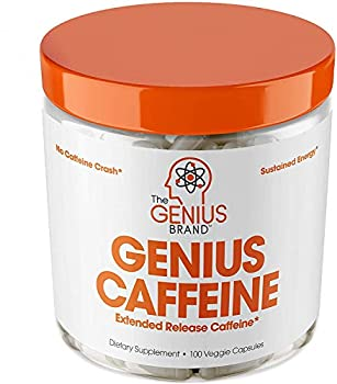 Genius Caffeine Extended Release Microencapsulated Caffeine Pills All Natural Non-Crash Sustained Energy & Focus Supplement Preworkout & Nootropic Brain Booster For Men & Women,100 Count