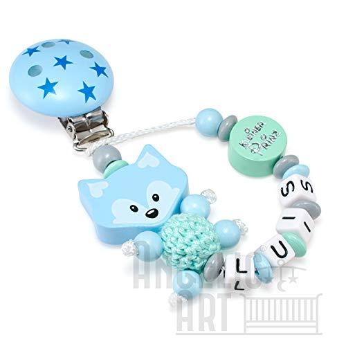 Schnullerkette mit Namen für Mädchen und Jungs - große Farbauswahl (mint, blau, kleiner Prinz, 3d Fuchs mit heakelkörper)