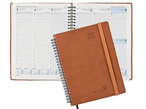 Kalender 2021 2022 A5 von POPRUN - Terminplaner, Terminkalender Ringbuch mit Softcover - Wochenplaner Vertikalem mit Stundenintervall - Planer Aug 2021- Aug 2022, 22 x 16,5 cm, Braun