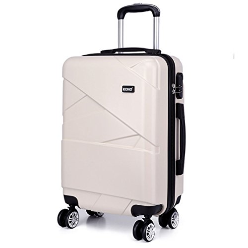 Kono 28 Inch Large Hard Shell Luggage Lightweight PC 4 Wheels Spinner Business Trip Trolley Case Suitcase (PC Beige 28')