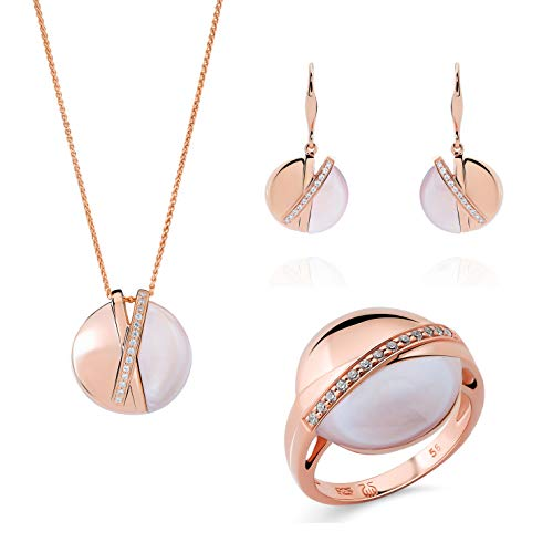 Orphelia Silver 925 SET-7506/RG/58 Earring-Pendant-Ring with Mother of Pearl & Cubic Zirconia Rose Gold Plated
