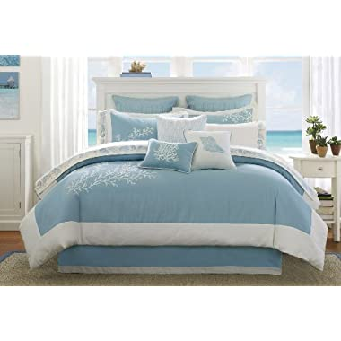 Harbor House Coastline King Size Bed Comforter Set - Blue, Jacquard Coastal Coral – 4 Pieces Bedding Sets – 100% Cotton Bedroom Comforters