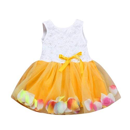 FCQNY Toddler Dress, 2019 Big Toddler Baby Girl Robe d'été à Volants Floral Tutu Pétales Jupe Bowknot Robes (Color : Gold, Size : 24 Months)
