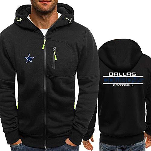 XZWQ Herren Rugby Hoodie - Dallas Cowboys American Football Trikot Pullover Unisex Reißverschluss Herren Hoodie Fall Thin Rugby Jersey Sportswear,L