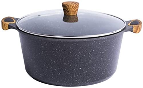 aedouqhr Olla de Sopa de Piedra Maifan, Olla Antiadherente, Cocina de inducción de Gas, Olla de Pegamento, Todos los Utensilios de Cocina están limpios, Compatible con 9L, fácil de Limpiar