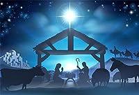 HD 10x7ftイエスの誕生の背景クリスマスの夜の飼い葉桶キリスト降誕のシーンシルエットの背景農場納屋安定したキリスト教写真の小道具スタジオ写真ブース小道具
