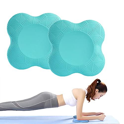 Lumanby Rodillera de yoga portátil para yoga, codera, alfombrilla de yoga antideslizante para mujer, soporte de rodillas de 20 cm, para rodillas, manos, muñecas y codos (verde claro)