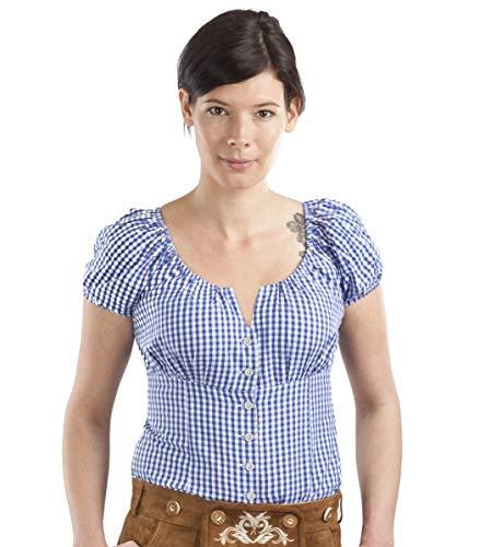 Trachtenbluse Amanda - Elegante Bluse - Trachten Carmenbluse kariert (40, Blau/Weiss)